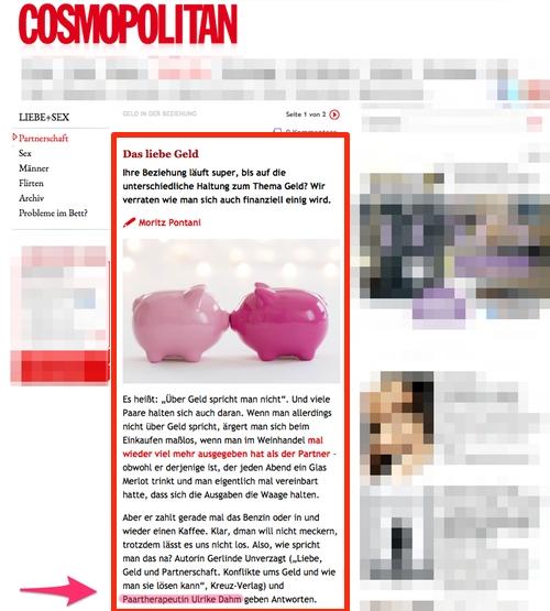 Pressetext über Ulrike Dahm zum Geld